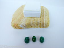 3er Set Grüner Beryll Smaragd -Cabochon - 32,80 Karat - 6,56 Gramm- Indien- Etui