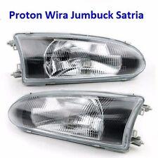 Proton Arena Jumbuck Satria Wira M21 Black Face Glass Lens Head Light Lamp 1Pair