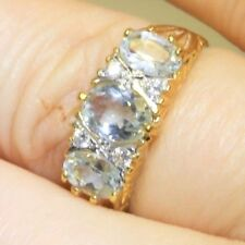 ANTIQUE STYLE 9CT GOLD ON SILVER REAL AQUAMARINE CLUSTER 3 STONE RING SIZE Q