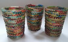 Set of 3 Tall Colourful Glass Beaded Moroccan Style Tea Light Holders 9cm