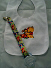 baby winnie the pooh personalized with yr childs name  dummy clip bib sets