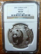2001 China 1oz silver panda coin NGC MS69