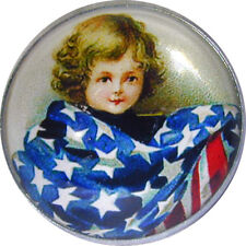 Crystal Dome Button Patriotic Vintage Girl wFlag PAT 02