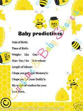 Baby Shower Juego predicciones Lindo ocupado Bumble Bee Diseño 20 Hojas Jugadores