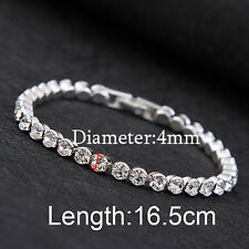 Fashion Women Luxury Austria Crystal Cuff Bangles Hand Chain Shiny Bracelets 1pc Silver(4mm)