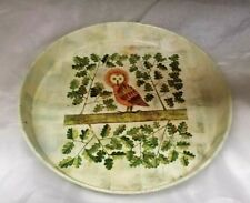 Vintage Owl in Tree Retro Worcester Ware Metal Tray Great Britain 1960s/1970s