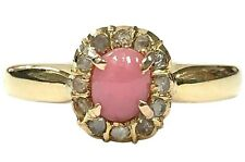 18K Gold, 0.69 ct Natural Pink Conch Pearl & Antique Rose Cut Diamond Halo Ring