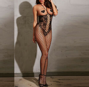 Women's Sexy Fishnet Body Stocking Open Cup Stripper Catsuit Plus Size