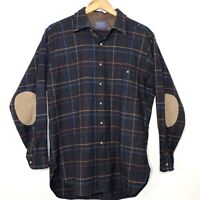 Vintage Mens Pendleton Wool Plaid Flannel Shirt Elbow Patches Size L Made USA