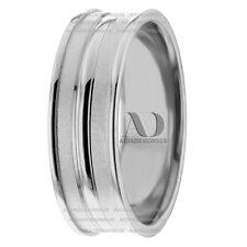 Sand Blast & Shiny 7mm Fancy Wedding Ring 14K White Gold Wedding Band