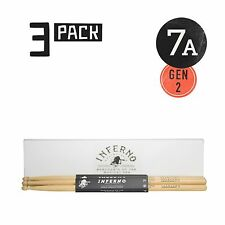 INFERNO MUSIC DRUMSTICKS 7A AMERICAN HICKORY 3 PACK GEN2 DRUMSTICKS