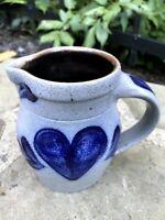 "Vtg ROWE POTTERY salt glazed blue stoneware folk art HEART 4.25"" pitcher creamer"