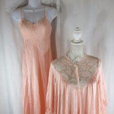 Vtg Olga S 34 Sleeping Pretty 9210 Apricot Peignoir Nightgown Robe Set