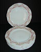 "6 Antique Vienna Austria VNN2 Porcelain Luncheon Plates Pink Rose Garland 8 1/2"""