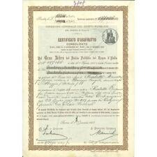 1907 - CERTIFICATO USUFRUTTO 3,50% - DEBITO PUBBLICO REGNO D'ITALIA DATA STAMPAT