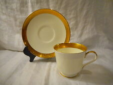 Bone China Cup and Saucer Set by Mikasa, Harrow (#A1-129), Gold Encrusted Band