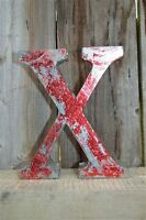 MEDIUM VINTAGE STYLE 3D RED X SHOP SIGN LETTER TIN WALL ART LETTER FONT 8 INCH