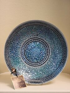 """Artistic Accents 13"""" Hand Decorated Glass Bowl With Metal Back Made In Turkey"""