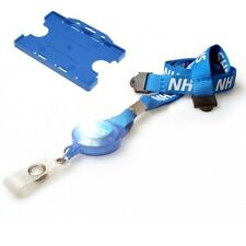 NHS Blue ID Card Holder & NHS Breakaway Lanyard with YoYo Badge Reel Free P&P