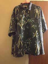 Men's TOMMY BAHAMA 100% Silk Gray Button Down w Palm Tree Detail SZ XL
