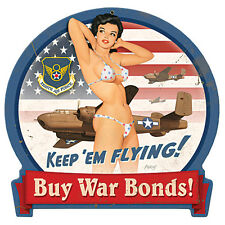 """WWII 8th AF,  B-25 """"Keep 'Em Flying!"""" Pin Up 15"""" X 16""""  - 24-gauge steel sign"""