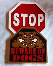 Stop Beware of Dog  3D routed carved custom sign dog pets Bull Dog Custom