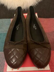 French Sole; Simple Brown Suede with Quilted Leather Toe Cap Pump; Size 38; NIB