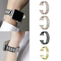 For Iphone 3 Watch Strap Wrist Band Stainless Steel Crystal Fashion Classic L0T9