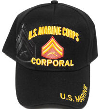 U.S MARINE CORPS CORPORAL Cap/Hat W/ Flag Black FREE SHIPPING