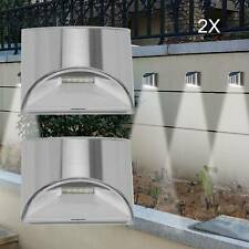 2 PACK STAINLESS STEEL SECURITY SOLAR WALL LIGHTS OUTDOOR FENCE POST STEP LIGHTS