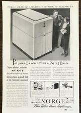 1937 Norge Heating Air Conditioning Print Ad Put Your Basement on a Paying Basis