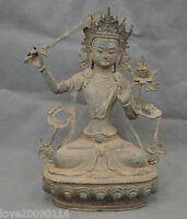 Collectible Buddhism Old Handwork Carve Manjusri Bodhisattva Big Bronze Statue