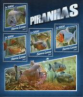 Sierra Leone Fish Stamps 2017 MNH Piranhas Piranha Fishes Fauna 4v M/S