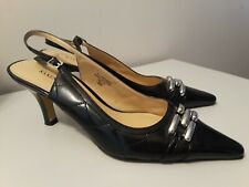 Karen Scott Nella Black Patent Toe/Kitten Heel~Quilt-Stitched Slingback Pumps 8M