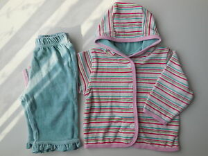 GORGEOUS BABY GIRL SOFT VELOUR JACKET + PANTS SET OUTFIT SIZE 00 FITS 3-6M