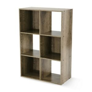 Mainstays 6 Cube Storage Organizer, Rustic Brown