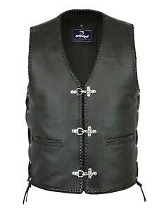 Men Motorbike Motorcycle Leather Side Laces Vest FishHook Buckles Waistcoat