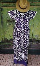 Dark Purple & Cream Cotton Hand Embroidery Huipil Dress, Jalapa Mexican Santa Fe