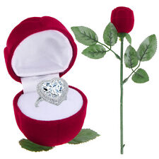 Unique Red Rose Engagement Wedding Ring Earring Pendant Jewelry Display Gift Box