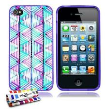 COQUE iPHONE 4 4S NÉON ABSTRAIT SILICONE VIOLET SOUPLE (TPU)