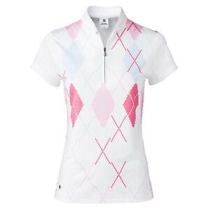 Daily Sports Aletta White Argyle Womens Golf Polo