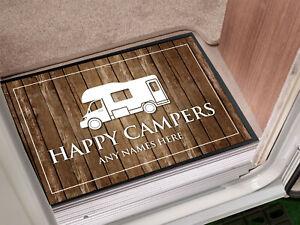 Personalised Happy Campers Camper Van Wood effect in-door mat 60 x 40 cm