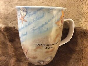 """CAPE SHORE HARBOR 15 OZ. MUG - """"FOOTPRINTS IN THE SAND"""" Old Orchard Beach ME"""
