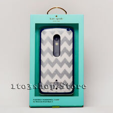 Kate Spade Motorola Droid Maxx 2 Hard Shell Snap Cover Case Silver Navy Chevron