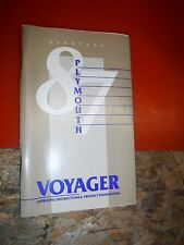 1987 Plymouth Voyager Original Factory Operators Owners Manual
