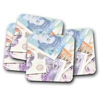 4 Set - Awesome Bank Notes Coaster - Money Currency Pounds British Gift #15919