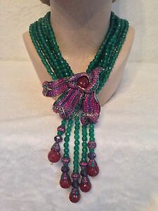 Heidi Daus CAPTIVATING CALLA LILY 6 Strand Green Bead Tassel Necklace Pink Lily