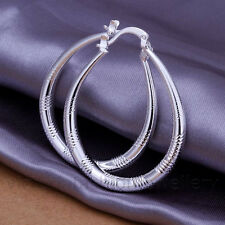 OVAL HOOP EARRINGS in 925 Sterling Silver Plt, 40mm, Creole, Loop, Teardrop Gift