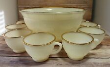 VINTAGE ANCHOR HOCKING SANDWICH GOLD TRIM IVORY MILK GLASS PUNCH BOWL + 11 CUPS