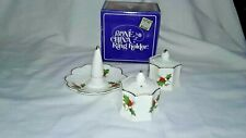 Vintage Bone China Holly Berry Salt And Pepper Shakers And Ring Holder